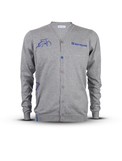 Immagine di Men's cardigan with blue details and Tractor shape